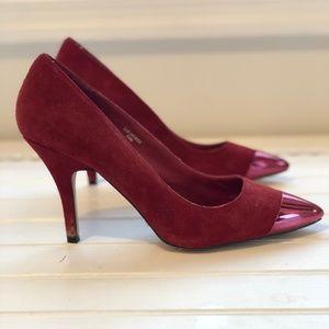 Red Suede Topshop Heels